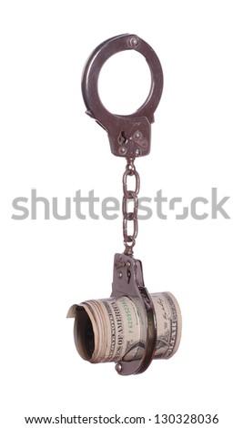 dollars in handcuff - stock photo