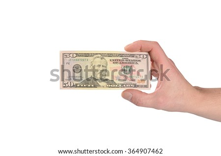 Dollars in man hand isolated on white  - stock photo