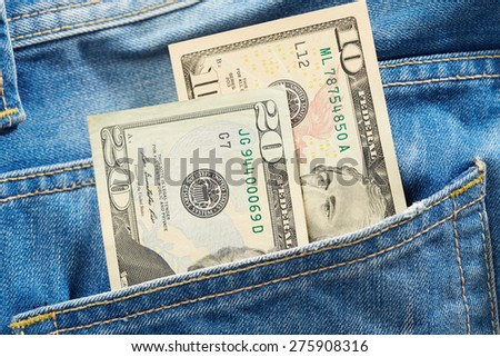Dollars in pocket