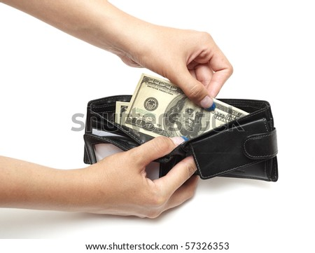 Dollars in purse isolated on white background
