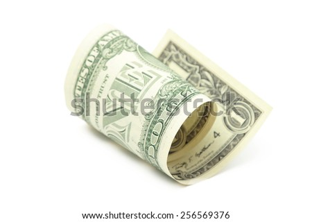 dollars in roll - stock photo