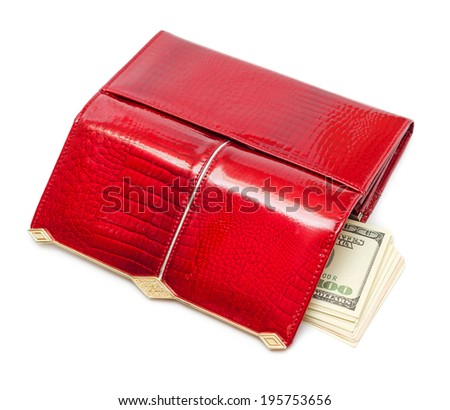 Dollars in the red purse isolated on white background - stock photo