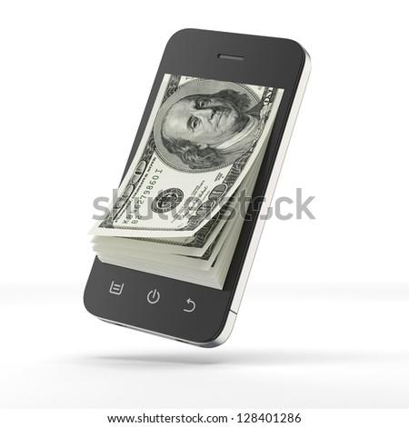dollars inside smart phone - stock photo