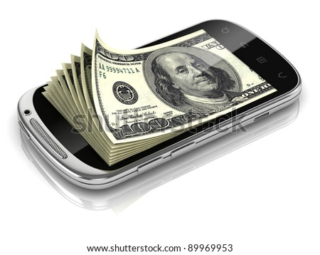 dollars inside smart phone 3d concept