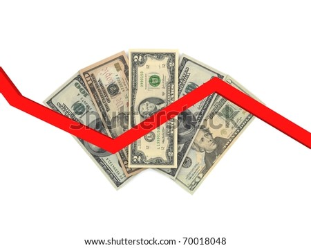 Dollars isolated on a white background, the financial chart