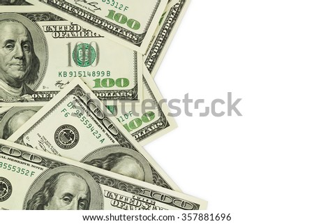 Dollars isolated over white background - stock photo