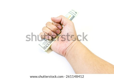 Dollars money in hand on white background