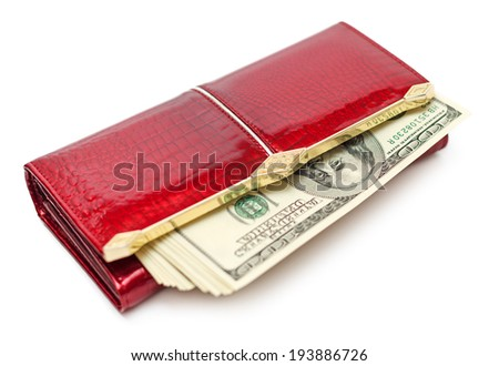 Dollars money in the red purse isolated on white background - stock photo
