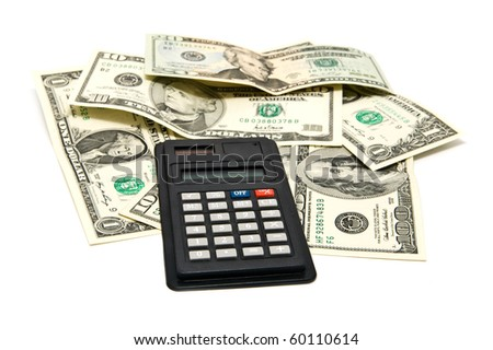 dollars of different notes with a calculator - stock photo