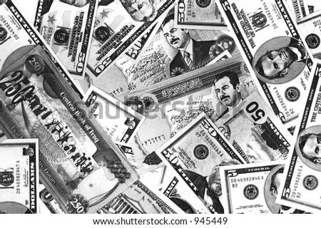 Dollars & old Dinars (Of course, this Iraqi money is not used anymore) - stock photo