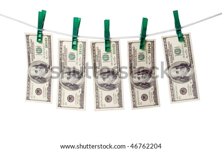 Dollars on a rope isolated on white background.