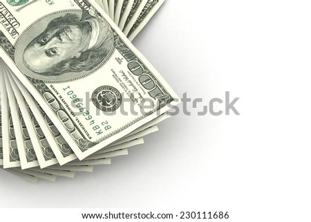 Dollars on a white background. Illustration for design  - stock photo