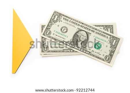 dollars on the white background with an arrow sign - stock photo