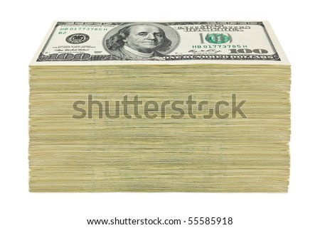 Dollars pack isolated on white background - stock photo