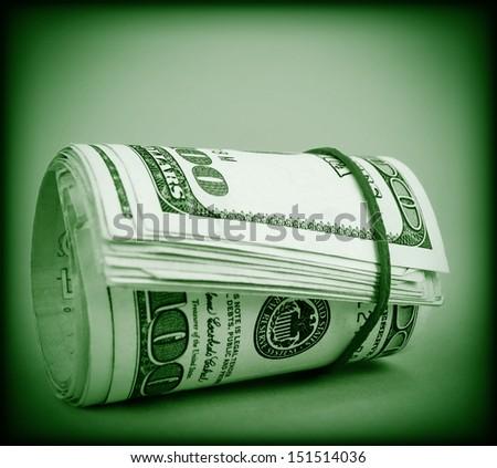 Dollars roll - stock photo
