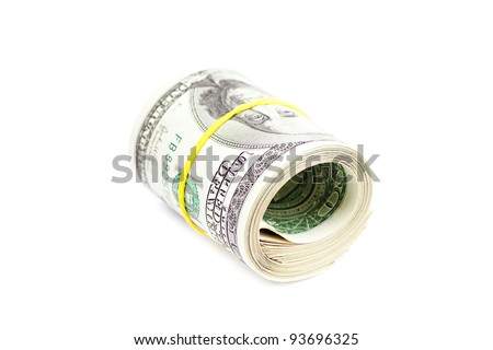 Dollars rolled into a tube tied with an elastic band isolated on white