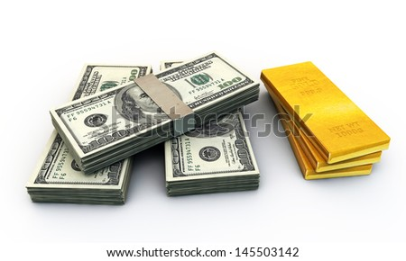 dollars stack and many gold ingots isolated on white background - stock photo