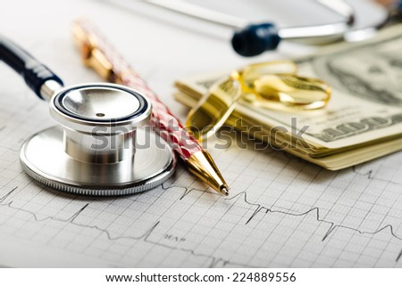 Dollars, stethoscope, pills and cardiogram. Costs for the medical insurance.  - stock photo