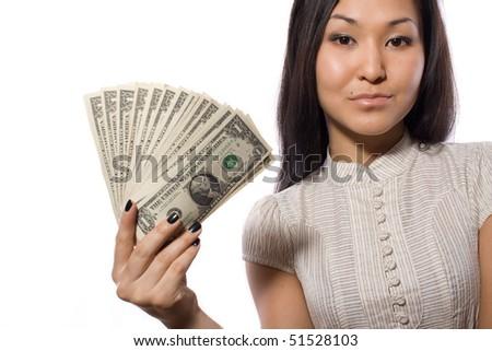 dollars, woman, girl, finance, beauty, american, banknotes - stock photo