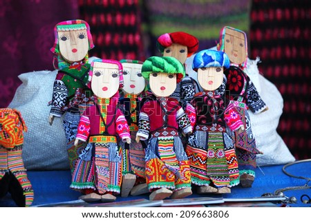 Dolls made by flower Hmong people in Vietnam - stock photo
