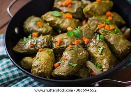 Dolma stuffed with rice and meat - greek traditional appetizer - stock photo