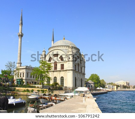 Dolmabahce Camii, Bosporus, Istanbul. Historical mosque built by Bezmialem Valide Sultan, mother of Sultan Abdulmecid in 1853. - stock photo