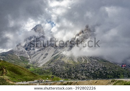 Dolomites and clouds