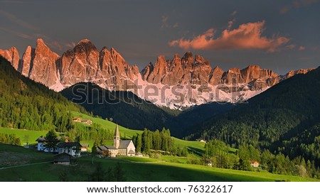 Dolomites Golden hour - stock photo