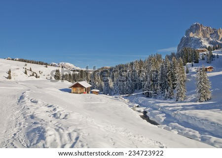 Dolomites mountain in winter, South Tyrol, Italy - stock photo