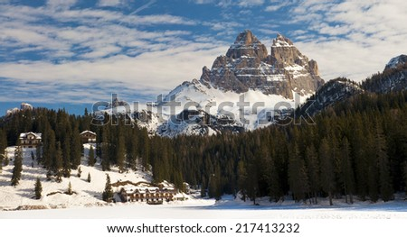 Dolomites Mountain in winter, Tre Cime di Lavaredo by Misurina Lake, Italy