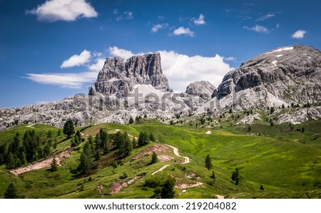 Dolomites mountains at summer.Passo Di Falzarego.Dolomites are on UNESCO World Heritage List.  - stock photo
