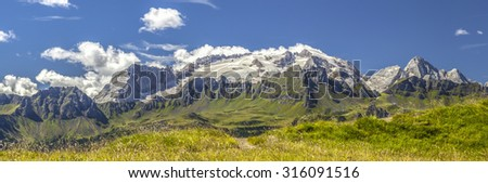 Dolomites: overview of the Marmolada glacier in summer