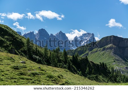 Dolomites, Pale di San Martino landscape in summer season - stock photo