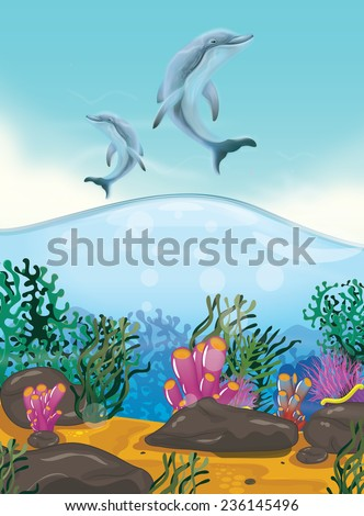 Dolphins Above the Corals, Two Dolphins jumping up out of the water above a coral ocean. - stock photo