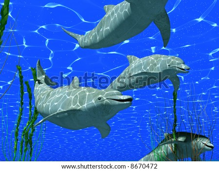 dolphins under water image with sunlight effect (3D render) - stock photo