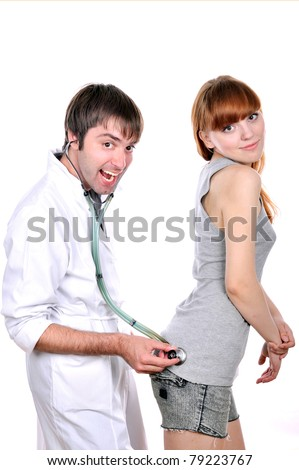 doltish doctor examines a patient girl, isolated on the surface of the white image, isolated image, white background, a strange doctor is diagnosis his girl patient - stock photo