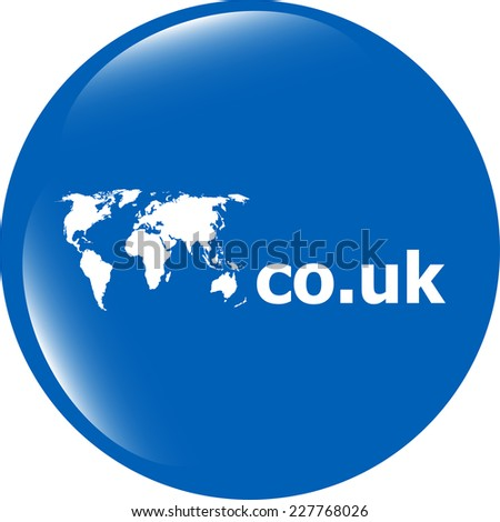 Domain CO.UK sign icon. Top-level internet domain symbol with world map - stock photo