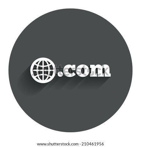 Domain COM sign icon. Top-level internet domain symbol with globe. Circle flat button with shadow. Modern UI website navigation. - stock photo