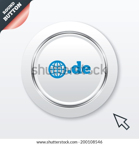 Domain DE sign icon. Top-level internet domain symbol with globe. White button with metallic line. Modern UI website button with mouse cursor pointer. - stock photo