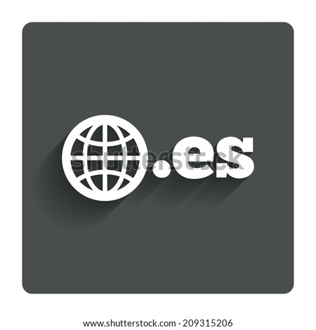 Domain ES sign icon. Top-level internet domain symbol with globe. Gray flat button with shadow. Modern UI website navigation. - stock photo