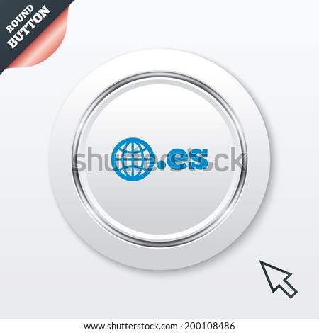 Domain ES sign icon. Top-level internet domain symbol with globe. White button with metallic line. Modern UI website button with mouse cursor pointer. - stock photo