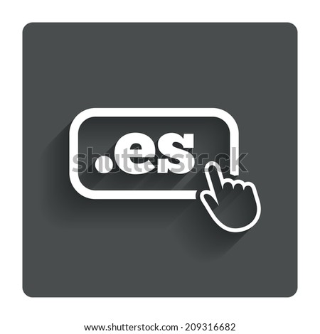 Domain ES sign icon. Top-level internet domain symbol with hand pointer. Gray flat button with shadow. Modern UI website navigation. - stock photo