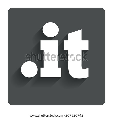 Domain IT sign icon. Top-level internet domain symbol. Gray flat button with shadow. Modern UI website navigation. - stock photo