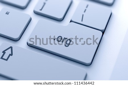 Domain name button on keyboard with soft focus - stock photo