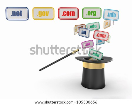 Domain names on signboards and magic hat. 3d - stock photo