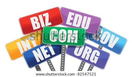 Domain names signs internet concept - stock photo
