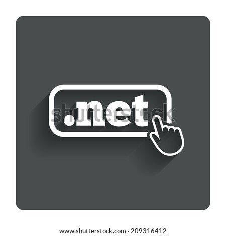 Domain NET sign icon. Top-level internet domain symbol with hand pointer. Gray flat button with shadow. Modern UI website navigation. - stock photo