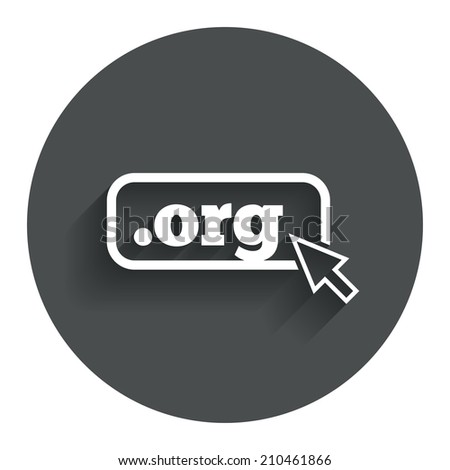 Domain ORG sign icon. Top-level internet domain symbol with cursor pointer. Circle flat button with shadow. Modern UI website navigation. - stock photo