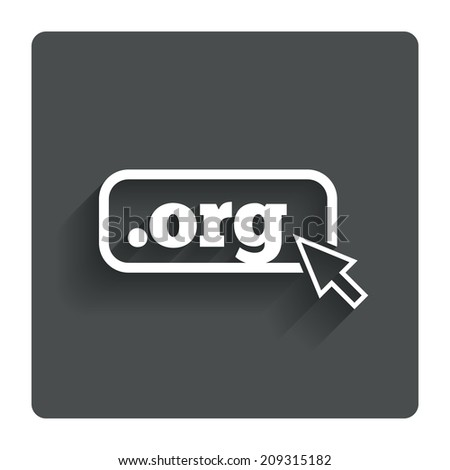Domain ORG sign icon. Top-level internet domain symbol with cursor pointer. Gray flat button with shadow. Modern UI website navigation. - stock photo