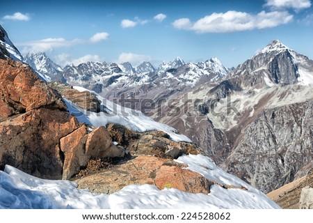 Dombai - a mountainous area in Karachay-Cherkessia in the Kuban basin in the North Caucasus Russia - stock photo